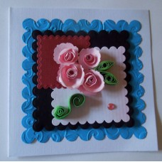 Four pink roses_quilled leaves