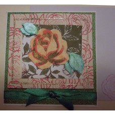 Floating rose_green silk bow