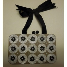 Ladies handbag_silver circles_pearls