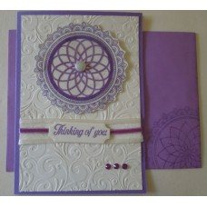 Thinking of you_lilac circle_white emboss