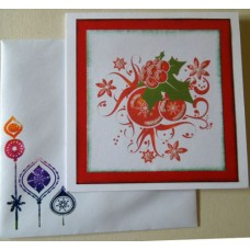 Two Xmas ornaments_red square border